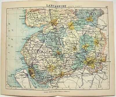 Original Philips 1892 Map of The South Part of The County of Lancashire, England
