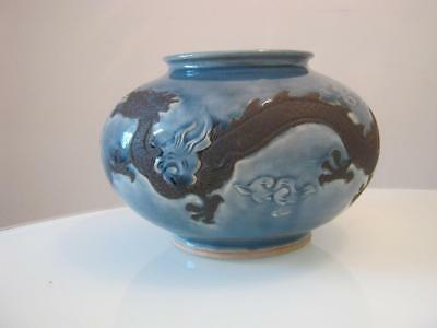 Stunning Signed Chinese Dragon Decorated Crackle Glaze Pottery Bowl