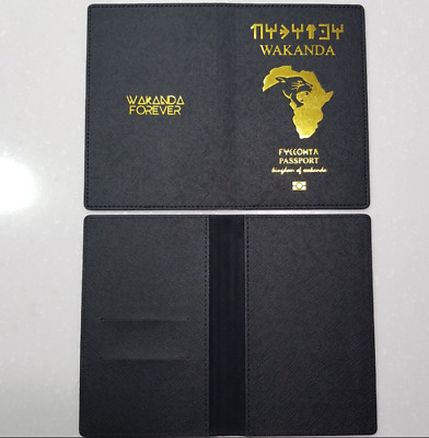 Marvel Wakanda Passport Case Cover Holders (Gold press print) ID