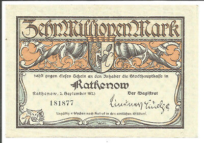 Stadt Rathenow,10 Millionen Mark 1923
