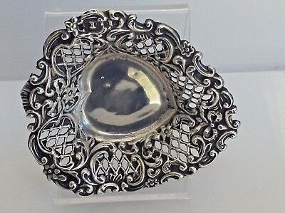 Antique Sterling/S Heart Shape Filigree Pin Dish by Birm Mkr Henry Matthews 1898