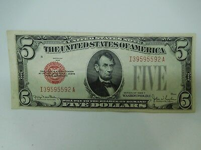 1928 F US $5 Small Size United States Note Extra Fine