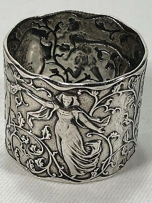 SUPER RARE Circa 1852-1865 Gorham Sterling Silver Napkin Ring French Dancers 70g