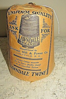 Antique Twine Spool,full, In Package, Cleveland Mill, 3 Ply. Lawndale Twine