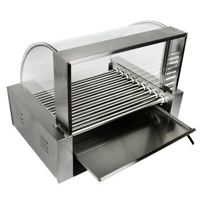 Commercial Hot Dog Grill Cooker 24 Hotdog 9 Roller Machine W/ Glass Cover