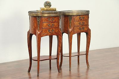 Pair Oval Antique Marquetry Marble Top Nightstands, End Tables, Italy #29058