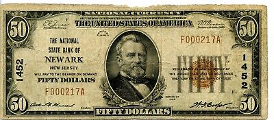 Amazing 1929 United States National Currency $50 Banknote EJ430