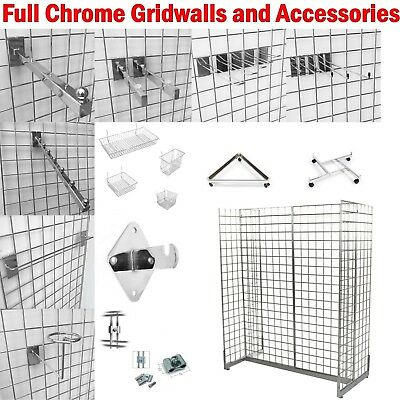 Full Chrome Gridwall Mesh Retail Shop Display Panels Bases Fixing Brackets