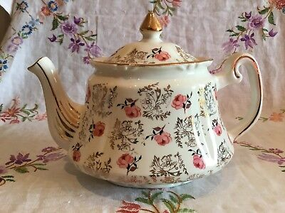 *beautiful Vintage Gold Chintz And Pink Roses Teapot*