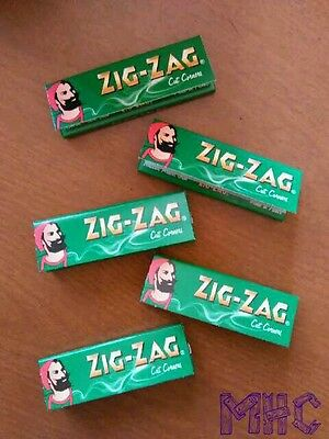 5 Books! ZIG-ZAG Green Cut Corners 1.0 Cigarette Rolling Papers!