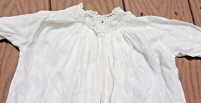 Antique Off White Embroidery Baby Gown Christening Baptism Lace Trim