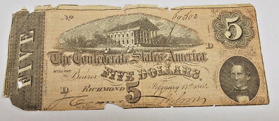 1864 $5 Confederate States of America Currency Details: Damaged