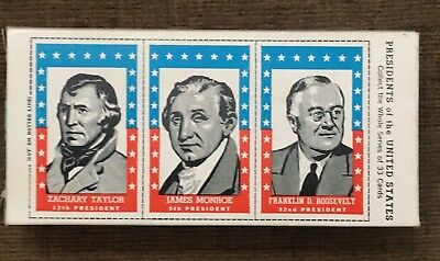 1960's Topps Bazooka Bubble Gum Box w/ US Presidents Trading Cards FDR