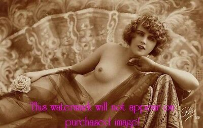Old VINTAGE Antique GORGEOUS Draped French NUDE w Curly Hair Photo Reprint