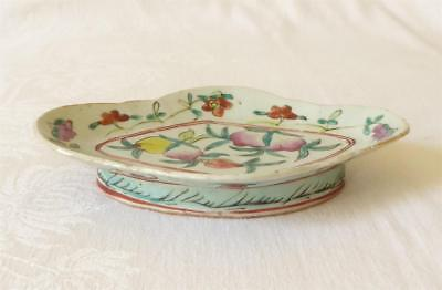 Antique 19Th Century Chinese Famille Rose Raised Dish Painted With Fruit