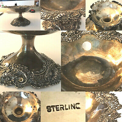 Antique Victorian Whiting Gorham ? Tazza Compote Repousse