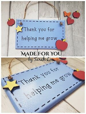 Thank You Teacher Nursery Teaching Assistant Childminder Wooden Plaque Gift