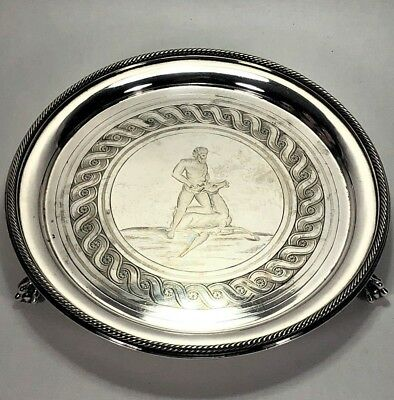 Great Antique English George III Silver Plated Salver Deer Wrestler Family Crest