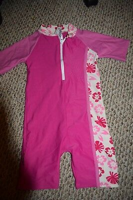 Girls Sunwise One Piece SWIMSUIT Sunsuit SIZE 5 PINK FLORAL NO SHOW