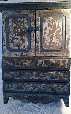 Antique Child's Doll  Armoire Wardrobe 10 Drawer 2 Door 19 in tall by 13 in wide