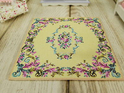 French Countryside Swirls Floral Dollhouse 1:12 Miniature Light Yellow Rug