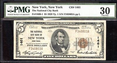 1929 PMG VF30 Type 1 The National City Bank of New York New York $5 Note SS90