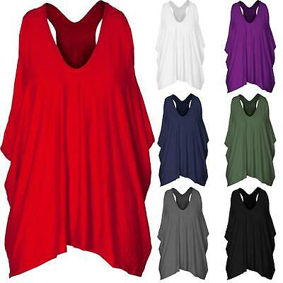 Ladies Racer Back Baggy Lagenlook Vest Top Oversize Loose Hanky Cami Strappy