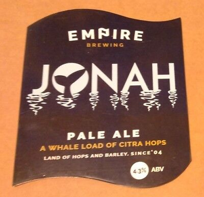 EMPIRE brewery JONAH cask ale beer pump clip badge front pumpclip Yorkshire