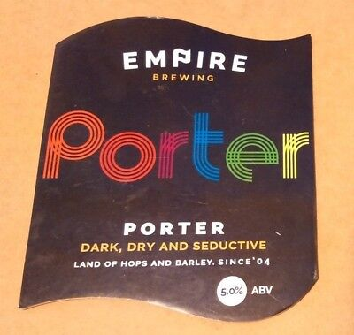 EMPIRE brewery PORTER cask ale beer pump clip badge front pumpclip Yorkshire NEW