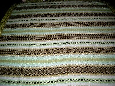 Vintage 70s green stripe double bedspread / throw