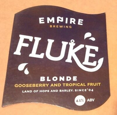 EMPIRE brewery FLUKE cask ale beer pump clip badge front pumpclip Yorkshire