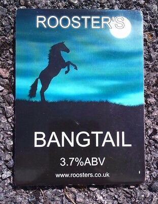 ROOSTER'S brewery BANGTAIL cask ale beer pumpclip badge front pump clip Yorks
