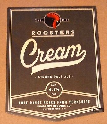 ROOSTERS brewery CREAM cask ale beer pumpclip badge front Yorkshire pump clip