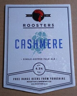 ROOSTERS brewery CASHMERE cask ale beer pumpclip badge front pump clip