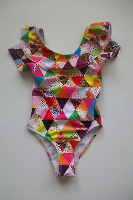 jl NWT Mim Pi Boutique Patchwork Ruffle Flounce One Piece Swimsuit 110 5