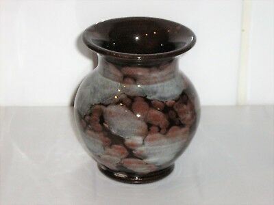 Welsh Ewenny Pottery Mottled Brown Glazed Stoneware Posy Vase