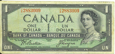 Bank of Canada 1954 $1 Dollar Devil's Face Portrait Beattie-Coyne Fine++ SCARCE