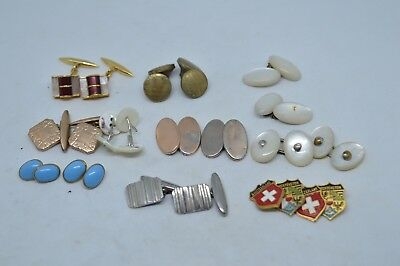 Collection of 10 pairs of Vintage Art Deco Cufflinks for wearing or Resale #4
