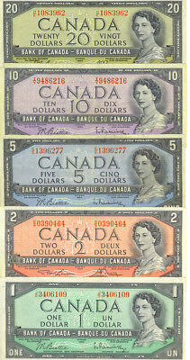 Bank of Canada 1954 Lot of Vintage Currency Year Type Set $20 $10 $5 $2 $1
