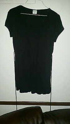 Motherhood Maternity Women's Sz M Black Blouse Short Sleeve Strings Attached