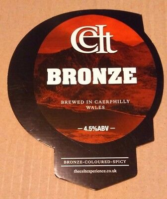 Beer pump badge clip CELT EXPERIENCE brewery BRONZE real cask ale pumpclip front