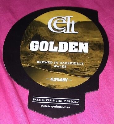 Beer pump badge clip CELT EXPERIENCE brewery GOLDEN real cask ale pumpclip front