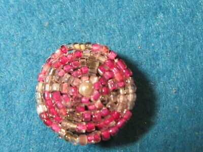 Vintage Button: Pink and Clear Beaded Button