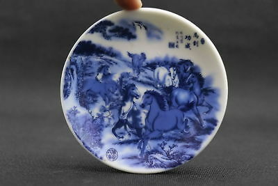 China Collectable Porcelain Paint  Horse Running At High Speed Exquisite Plate 1