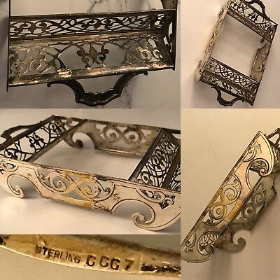 Antique Whiting Sterling Silver Cube Sugar Cracker Double Stand Holder Tray