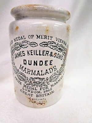 Antique (Late 19th c.) James Keiller & Sons Dundee Marmalade Crock Jar