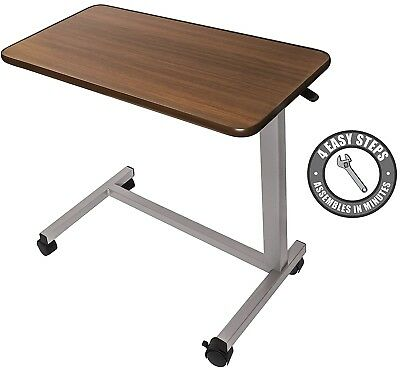 Medical Adjustable Overbed Table with wheels (Hospital and Home Use)