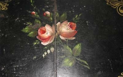 antique 19C Hand Painted Romantic TOLE Serving TRAY 2 Roses on Black CENTER SEAM