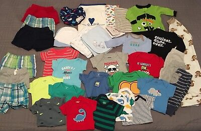 Large 40+ PC Newborn Baby Boy Clothing Lot Onesies Shorts Outfits Carter's