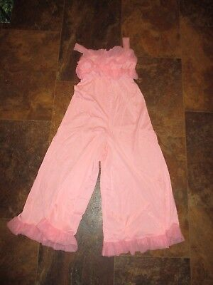 Guild HIPPIE CHICK Vintage RUFFLED Hot PINK One Piece Legged PAJAMAS-1970's-S